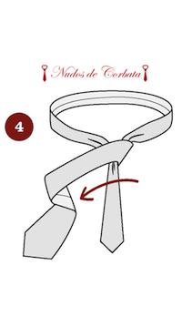 Como hacer nudo de corbata cuatro en mano paso 4